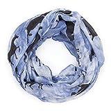 MANUMAR Loop-Schal für Damen | Hals-Tuch in blau schwarz mit Pferde Motiv als perfektes Herbst Winter Accessoire | Schlauchschal | Damen-Schal | Rundschal | Geschenkidee für Frauen und Mädchen