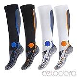 CFLEX - Damen Herren 2 Paar Kompressionsstrümpfe Running Kniestrümpfe - Running Knee Socks Compression Größen 35-46
