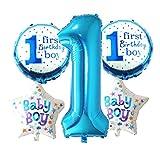 Prettyia Zahlenballon Nummer 1 Folienballon Riesenzahl Luftballon für Baby Erster Geburtstag Deko - Junge Blau