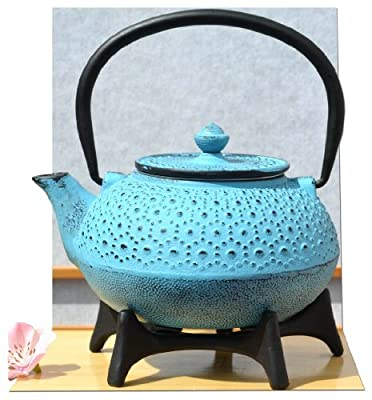 Service à thé en fonte avec théière et dessous de théière Bleu/motifs fleurs 0,6 l