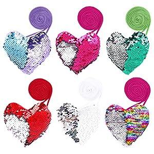 FT-SHOP Pailletten Geldbörse Herzförmige Kinder Portemonnaie Mini Crossbody Taschen für Geburtstag Geschenk Mitgebsel…
