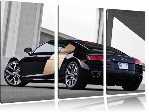 Foncé Audi R8, 120x80 image de toile peinture sur toile, d'énormes photos XXL complètement encadrée avec civière, art impression sur l'image de mur avec cadre, moins cher que des peintures ou des photos, pas d'affiches ou posters