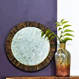 Casa Decor Fairy Tale Mirror Wall Hanging Wooden Wall Decor Round Shape For Living Room, Bedroom, Kids Room