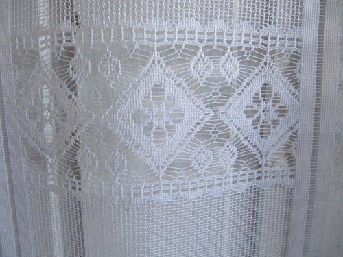 Scheibengardine Weiß Raute 45 cm o. 60 cm Höhe/ Br. ab 1 Meter, Höhe:60