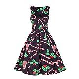 SUNNSEAN Kleid Damen Kleid Bluse Sommerkleider Frauen Vintage Santa Christmas 50er Jahre Retro Xmas Abend Prom Swing Dress Abendkleider