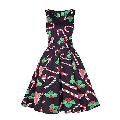 VECDY Damen Kleid,Weihnachten Geschenk- Herbst Damen Vintage Santa Weihnachten 1950er Jahre Retro Weihnachten Abend Prom Swing Dress Zartes Weihnachtskleid Abendkleid(Schwarz,42)