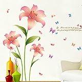 Wandaufkleber-Ausgangsrosilienlilien-Wandaufkleber, Schlafzimmerwohnzimmerwandaufkleber 230 × 145cm