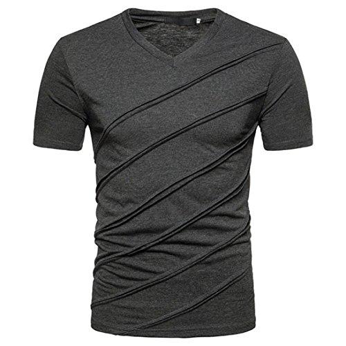 UJUNAOR Mode Persönlichkeit Sommer Herren Beiläufig Slim Fit Solide Kurzärmeliges T-Shirt Top Bluse(L,Dunkelgrau)