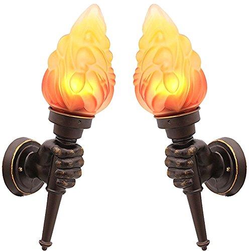 GUORZOM Industrielle Wandlampe Im Freien Wasserdichte Wand Lampe 85-265 V Retro Faust Fackel Hof Dekorative Wand Lampe E27, C