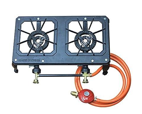 bacoeng en fonte Brûleur à gaz pour camping/pique-nique de cuisson avec tuyauterie et régulateur Kit...