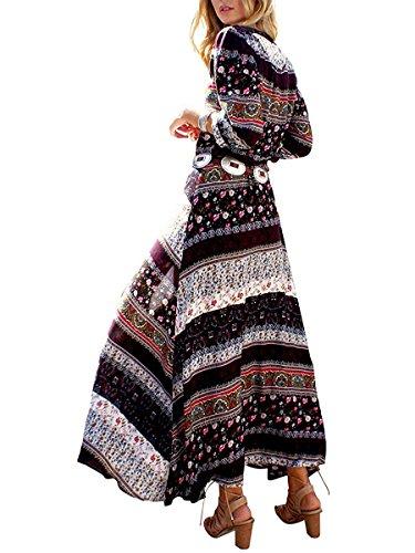 Minetom Femmes Eté Vintage Bohème Style Impression Col V Manches 3/4 Side Slip Maxi Robe Longue Plage Fête Long Dress Marron