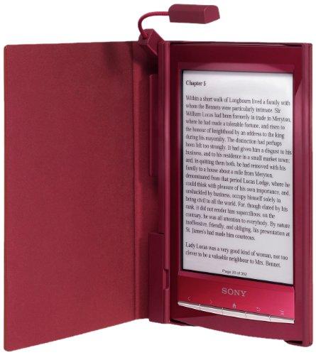 Roter Einband mit integrierter Leuchte für Reader Wi-Fi PRS-T1 von Sony (Prs Hardware)