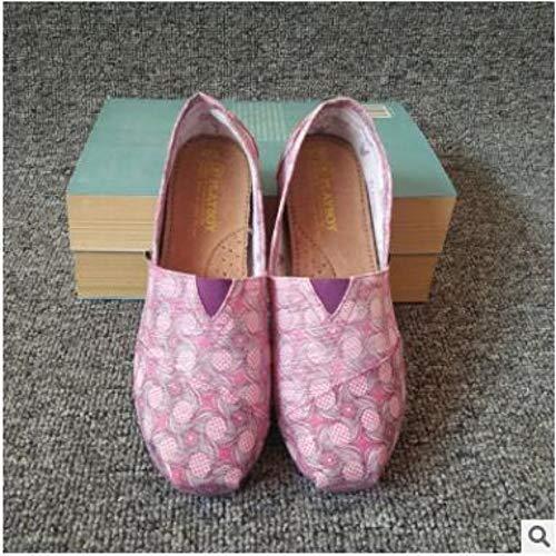 Zehen-canvas-espadrille (YOPAIYA Fisherman Schuhe Damenmode Lavendel Flache Schuhe Faule Espadrilles Damen Canvas Schuhe Mädchen Müßiggänger Runde Zehe Slip On Flats Leichter Schuh Atmungsaktiv, 39)