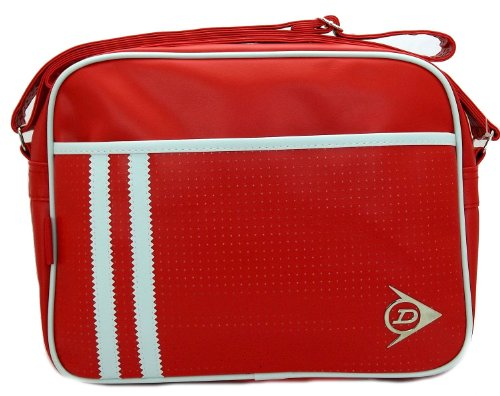 Duns7050a Dunlop Perforated Red & White Trim Messenger Bag With Adjustable Shoulder Strap