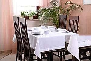150x220 weiß Tischdecke dekoratives Tischtuch elegant praktisch pflegeleicht white Quattro