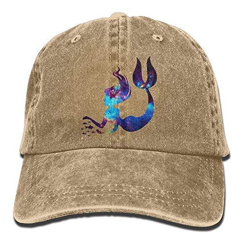 UUOnly Männer Frauen Einstellbare Garn-gefärbte Denim Baseball Cap Mermaid Trucker Cap