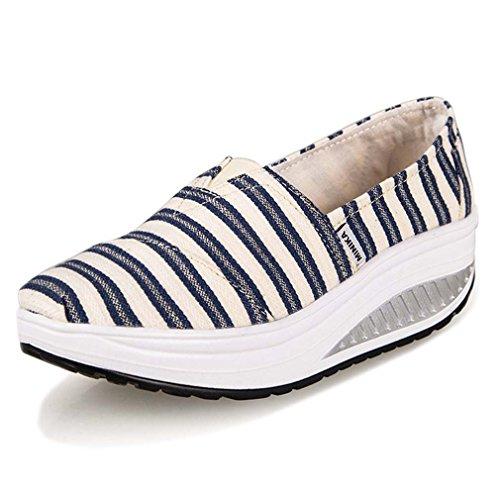 Solshine Damen Streifen Canvas Loafers Keilabsatz Sportschuhe Plateau Turnschuhe (Canvas Loafer)