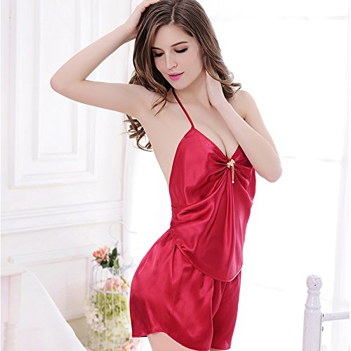 lpkone-Relations sérieuses in Pyjamas Chemise vintage chemise sexy bretelles Mesdames chemise home services,Champagne Red