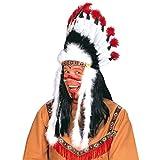 Indianer Kopfschmuck Häuptling Federhaube Western Feder Haube Federkopfschmuck Apachen Rothaut Squaw Wilder Westen Federschmuck Fasching Cowboy Mottoparty Accessoire Karneval Kostüm Zubehör