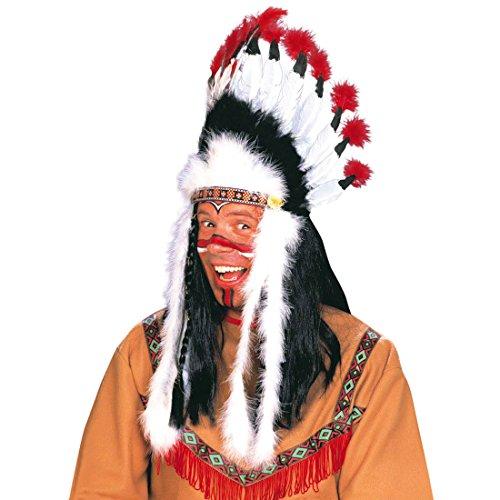Indianer Kopfschmuck Häuptling Federhaube Western Feder Haube Federkopfschmuck Apachen Rothaut Squaw Wilder Westen Federschmuck Fasching Cowboy Mottoparty Accessoire Karneval Kostüm (Apache Kopfschmuck)