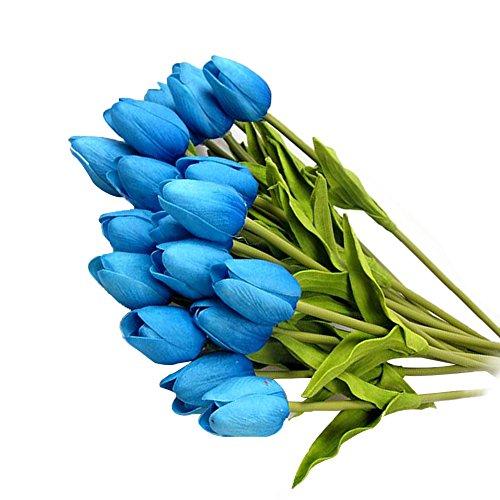 20 Stück JUYUAN-EU Tulpe künstliche Blumen mit Blätter Dekoriere Kunstblumen Latex Real Touch Bridal Wedding Bouquet Home Decor 5 Farben