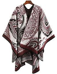 b5c7b17ebf2e LIULIFE Foulard Automne Hiver Écharpe Bicolore Manteau pour Femme Cardigan  Cape Poncho