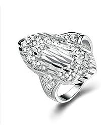 Epinki joyería plata de ley 925 mujeres anillo plateado Oval anillo cubic zirconia anillo de compromiso