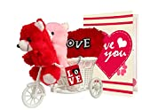 Tied Ribbons Combo (2 Teddy, Love Tri Cycle , Heart Cushion , Greeting Card)