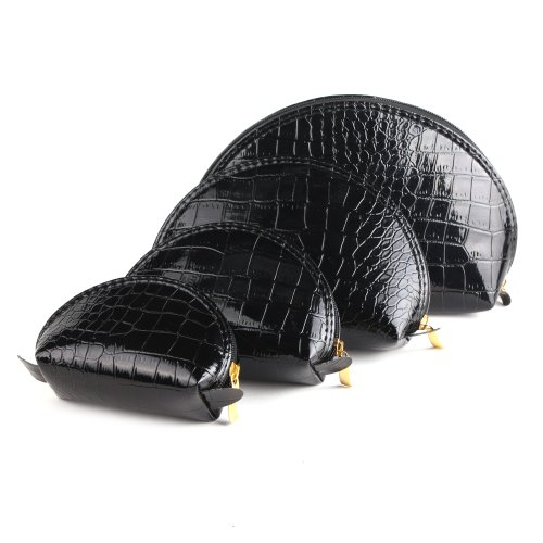 yesurprise-set-of-4-black-snake-skin-cosmetic-makeup-beauty-case-purse-toiletry-bag-fashion-gift