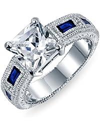 Bling Jewelry CZ Corte Princesa Color Azul Zafiro Anillo de Compromiso Baquette