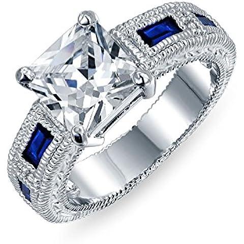 Bling Jewelry CZ della principessa Cut Blue Sapphire Colore baquettes anello di fidanzamento