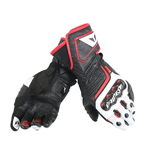 Dainese-CARBON D1 LONG Guantes, Negro/Blanco/Lava-Rojo, Talla XXL