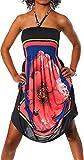 Unbekannt Damen Kleid Minikleid Cocktailkleid Neckholder Bunt Design Bandeau Partykleid Strandkleid Blumen Aztec Paisley Print Rot, Einheitsgröße 34-40