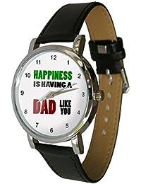 Happiness Is Having A Dad wie Sie Design Armbanduhr. Tolles Dad Geschenk für Väter Tag