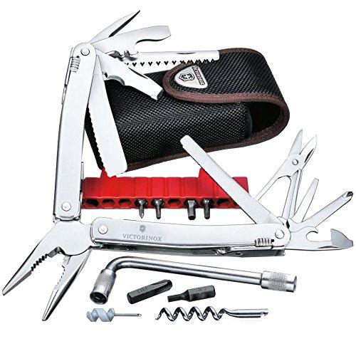 Victorinox Multifunktionswerkzeug Swiss Tool X Plus (37 Funktionen, Etui, Bit-Schlüssel) silber - Reinigung Auto Waffe
