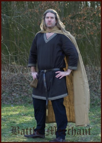 Mittelalter Umhang aus Baumwolle mit Kapuze, diverse Farben – LARP Farbe schwarz - 4