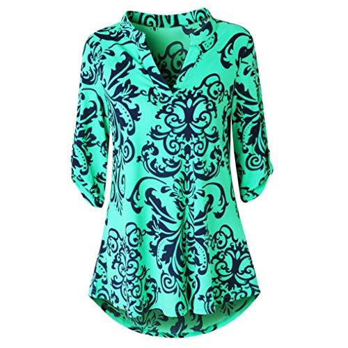 Blumendruck Oberteile MEIbax Damen Langarm Floral Bedruckte Roll-up Top Casual Button Layered Blusen Langarmshirt Henley Hemd Stretch Tunika