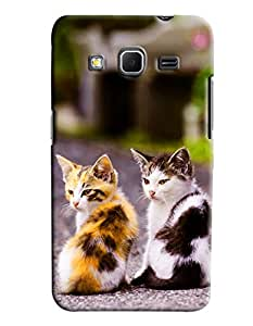 Clarks Two Cats Hard Plastic Printed Back Cover/Case For Samsung Galaxy Core Prime