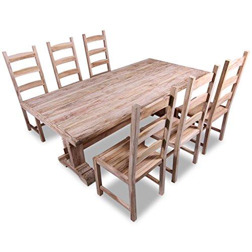 Festnight Set 7 Pezzi Grande Tavolo e Sedie Sala da Pranzo/tavolo cucina  con sedie in Teak