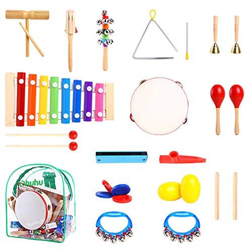 Ohuhu Musikinstrumente für Kinder, 20 Stück Musikalische Instrucments, Kleinkind-Musik-Spielwaren, Xylophon, Trommel Rhythmus-Percussions-Set für Baby-Kind-Kind-Jungen-Mädchen