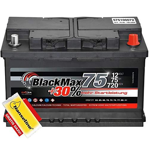 BlackMax Autobatterie 12V 75Ah Starterbatterie ers 60Ah 62Ah 65Ah 74Ah inkl Polfett