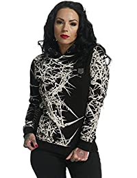 Yakuza Flex Hoodie mujer Sudadera con capucha Thorns ghob 11106(Negro), Negro , small