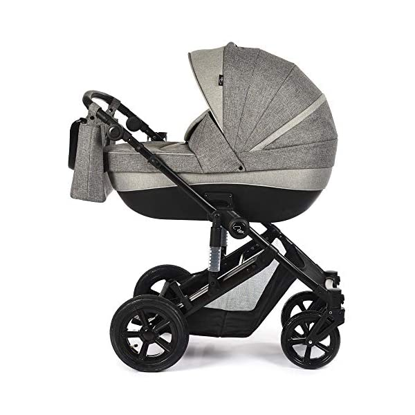 Roma Moda Pram, Includes Carry Cot, Rain Cover, Cup Holder and Bag - Grey Roma Suitable from newborn - 15kg - Raised backrest in the carry cot Lightweight aluminium frame - All round suspension - Easy fold All terrain tyres (rear air tyres and front foam tyres) Large hood with viewing window 1