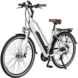 "E-Bike Trekkingrad - 28"" CityBike Tiefeinsteiger B15-D AsVIVA | 36V 14,5Ah 522Wh Samsung Zellen Akku | 7 Gang Shimano Schaltung | sehr starker 250W Heckmotor | Scheibenbremsen | Zoom Federgabel | LED Beleuchtung | Felgenschloss | Alu Elektrofahrrad Pedele"