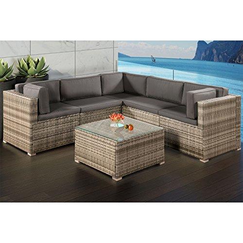 Polyrattan Lounge Sitzgruppe Nassau beige-grau mit Bezügen in Dunkelgrau
