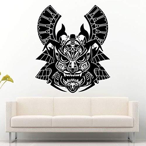 ljradj Alte SamuraiEntfernbare WandaufkleberFür Wohnzimmer Kreative Krieger Maske Helm Vinyl Aufkleber Hintergrund Home Wandbild Kunst56X68 cm (Krieger Mitsubishi)