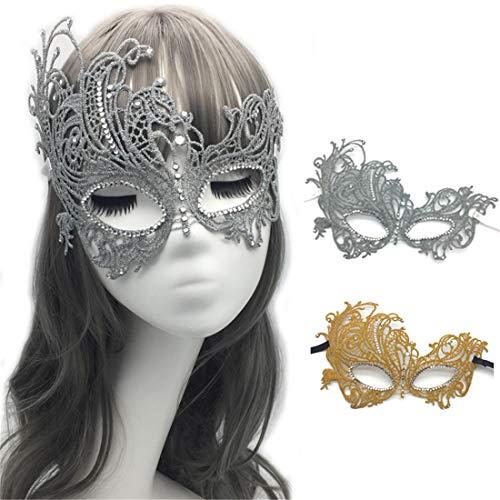 VJUKUBCUTE Pack Von 2 Sexy Frauen Gold Und Grau Vintage Lace Maskerade Kostüm Masken Venezianischen Eyemask-Halloween Mardi Gras Party Maske