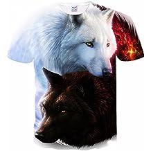 Lobo negro y blanco del lobo Casual 3D Animal Print manga corta camiseta Tees M-4XL, M