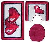 Ilkadim Badgarnitur 3-teilig Rot weiß, Motiv Herz mit Ausschnitt.für Stand-WC, 80 x 50cm (große Matte), 50x40cm (Kleine Matte)