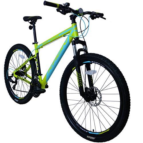 KRON XC-100 Hardtail Aluminium Mountainbike 27.5 Zoll, 21 Gang Shimano Kettenschaltung mit Scheibenbremse | 18 Zoll Rahmen MTB Erwachsenen- und Jugendfahrrad | Grün & Türkis